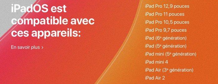 Appareils compatibles avec iPadOS et ainsi la prise en charge de la souris.